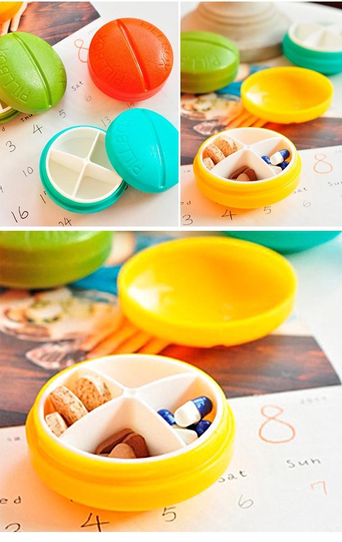 藥丸型造型小藥盒-黃色(四格圓型,隨身小藥盒)